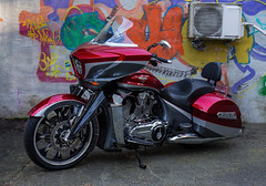My red Lady (Siggi007) Tags: red motorbike mc motorrad motorcycle bike ride roads colors colores riding portrait engine victory magnum 106 canoneos6d bergen street grafitti bagger pipes cruising travel awesome farben twin v beautiful lifestyle biker outdoors details