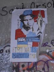 145 (en-ri) Tags: tom waits swordfish pesce spada bianco giallo rosso azzurro acquerello firenze wall muro graffiti writing poster