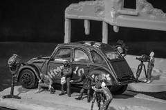 The Getaway Scene - Explored (SKAC32) Tags: macromondays canon100mmf28macro crime blackwhite monochrome bw preiser 2cv car