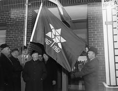 Centennial Flag Raised Over Chamber of Commerce (TBayMuseum) Tags: thunderbay ontario canada history chamberofcommerce flags centennial politicians alderman