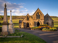 Evening Chapel (Johnners61) Tags: haslingden helmshore rossendale lancashire england greatbritain britain northwest church cemetarychapel chapel cemetary graveyard spring daffodils evening goldenhour golden goldenlight grane microfourthirds micro four thirds mft m43 olympuspen olympus pen epm2