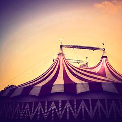 Under the Big Top (Maureen Bond) Tags: ca maureenbond iphone bigtop circus performances noanimals underthebigtop twilight show light sunlight flags carnivalfolk tent