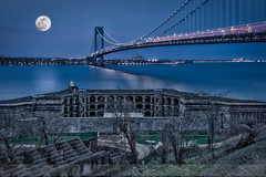 Verrazano Narrows Bridge Full Moon (Susan Candelario) Tags: bluesky brooklyn fortwadsworth ny nyc newyork newyorkcity newyorkharbor northamerica old statenisland susancandelario us usa unitedstates verrazanonarrowsbridge abandoned abandonment architectural architecture beacon bluehour blueskies bridge bridges building cityscape cityscapes dusk evening forgotten fort fortifications fortress fullmoon lighthouse lighthouses militaryinstallation moon moonlight night nighttime pharos skies sky skyline skylines structure structures suspensionbridge transport transportation twilight urban urbanlandscape waterscape