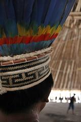 Cocar de indígena Wai Wai na celebração na aldeia