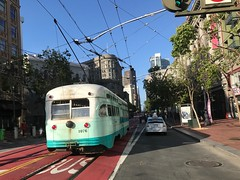 Cable Car on Market Street (Land Ahoy Photography) Tags: unitedstates california city unionsquare marketstreet cycling bicycle cycle downtown sanfrancisco vintage cablecar