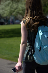 She Just Walked Away (swong95765) Tags: woman female lady walking rear arm pretty backpack longhair