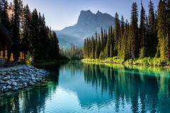 Emerald Sunshine (Kristin Repsher) Tags: britishcolumbia canada canadianrockies d700 emeraldlake emeraldlakelodge fieldbc glacierfedlake lake mountains nikon trees yoho yohonationalpark