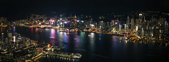 Victoria Harbor from 108 Floors Up - Explored (NOAC_) Tags: hongkong night skyline nocturnal nighttime light lights lighttrail longexposure 30seconds skyscrapers cityscape waterfront colorful sunset dusk evening pentaxk5iis panorama stitched asia china reflection