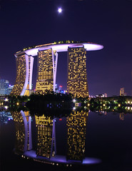 Marina Bay Sands (AC84) Tags: portrait moon reflection building water architecture night marina hotel bay scenery singapore asia southeastasia cityscape skyscrapers pentax sands