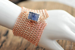 Sterling silver & Copper European chain mail button cuff with Kyanite (Random Life Project) Tags: jewelry bracelet copper cuff chainmail kyanite sterlingsilver buttoncuff magmgpproject magmgp