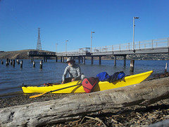 Some guy at Eckley (thamiter) Tags: pier kayak carquinezstrait eckley