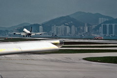 Take-off, Hong Kong airport (1982) (Duncan+Gladys) Tags: hk hongkong enhanced