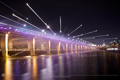 Banpo Bridge Fluorescent (MarkDeibertPhotography) Tags: water fountain night lights zoom korea seoul southkorea hanriver banpobridge
