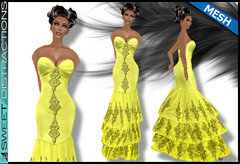 Mesh Tiered Lace Mermaid Gown in Yellow (Sweet Distractions) Tags: life mesh sweet lace sl bridesmaid second gown mermaid rigged distractions