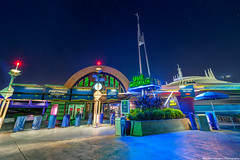 Space Mountain (TheTimeTheSpace) Tags: night reflections stars nikon disney disneyworld waltdisneyworld tomorrowland hdr magickingdom spacemountain d800 matthewcooper videoarcade thetimethespace