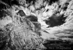 Bold (M8100951raw B 0pv1) (Mel Stephens) Tags: 20130810 201308 2013 st aberdeenshire scotland uk olympus omd em5 coast coastal water waterfall ir infrared le long exposure 1442mm bw black white silver efex cloud stitched panorama panoramic ptgui microfourthirds mirrorless august micro43 gps geotagged mmf3 summer cyrus zuiko m43 43 fourthirds q3 clouds