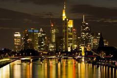 Frankfurt (Main), Germany (Richard Valder) Tags: skyline night skyscraper germany nacht frankfurt main brcke spiegelung mainhatten hochhaus langzeitbelichtung