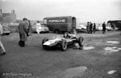 Jackie Lewis in the paddock on practice day for the 1961 British Grand Prix, Aintree, Liverpool. (Montii41) Tags: liverpool motorracing aintree racingdriver jackielewis britishgrandprix cooperclimax hlmotors