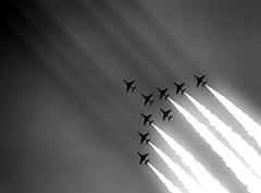 Red arrows with sun beams (SmashingSimpkins) Tags: sky plane canon airshow bournemouth redarrows raf 100400 5dmk3