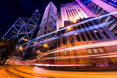 Hong Kong Central - 7:09pm (Hong Kong Eye) Tags: longexposure night buildings hongkong lights cityscape lighttrails tramlines lowangle bankofchina garyjones 2013 cheungkongcenter hongkongcentral nikond800