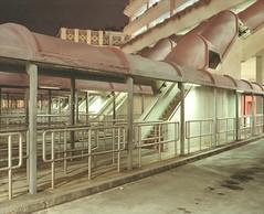 semi-abandoned car park (Egg Cheung) Tags: park bus 120 film car station hongkong stair long exposure mini medium 6x7 fujicolorpro400h semiabandoned fujifilmgf670professional