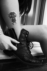 (Corah Louise Photography) Tags: blackandwhite bw woman white black field rock tattoo night drunk fun happy concert shoes hand boots drink lace live stage crowd hard band down tattoos alcohol rocker tired trendy laugh zipper singers late wrist rough depth zip laces sugarmill audiance