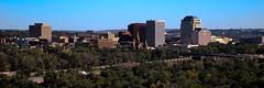 Colorado Springs Day (Circled Thrice) Tags: city panorama skyline canon buildings eos rebel town colorado cityscape pano coloradosprings co t3i