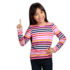 Little asian girl standing with index finger up, isolated over white with clipping path (Patrick Foto ;)) Tags: show portrait white cute girl beautiful beauty up smiling sign closeup female point asian fun thailand happy person kid pretty child hand message looking little expression finger background text young adorable some happiness human thai attractive advice concept copyspace cheerful gesture joyful attention pointing showing index enjoying isolated presenter clippingpath