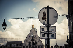 Dark Signs of the City (Gilderic Photography) Tags: street city sky urban fish france art sign architecture clouds canon eos sticker europe raw place grand ciel lille nuages poisson panneau ville verso 500d gilderic