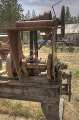 Backgear, flat belt and V-belt drive pulleys on a century-old 20-inch x 12-foot Muller metal lathe in a junkyard, made by the Bradford Mill Company (Darron Birgenheier) Tags: california ca metal vintage liberty outdoors freedom rust antique l