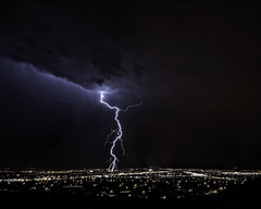 Lightning strike in Albuquerque - August 2012 (Mitch Tillison Photography) Tags: city longexposure storm newmexico nature beautiful weather photography lowlight cityscape natural dramatic albuquerque sharp clear nighttime photograph monsoon bolt strike lightning sigma1020mm pentaxk5 mitchtillison