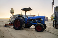 Fordson Major E1 (Leighton Wallis) Tags: blue house tractor home fog sunrise newcastle dawn sony australia nsw newsouthwales shack pancake plow alpha 16mm f28 portstephens fishingvillage silvercity tincity stocktonbeach mirrorless a7r ilce7r