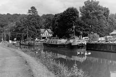 Gavroche (Spotmatix) Tags: camera film water monochrome river landscape effects canal iso200 belgium places ilford praktica charleroi hp5plus sambre hainaut