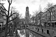 (Frederic K) Tags: utrecht netherlands city water canal gracht church tower dome domtoren houses buildings architecture archilovers winter tree sky blackandwhite blackwhite bnw bw bwlovers monochrome photography