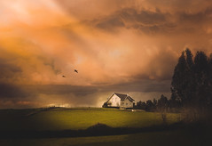 Today the skies are your gift... (cristina.g216) Tags: sky cielo campo country orange naranja casa house