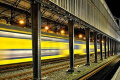 Station Haarlem (jan_vrouwe) Tags: haarlem station intercity railways platform rails evening speed bulblight highspeed