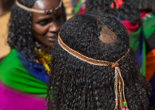 Tonsure that indicates the Borana tribe girl is virgin during the