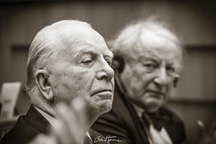 Portrait of Mark Eyskens, previous prime Minister of Belgium and Paul Goldschmidt, previous Financial Director at the European Commission, which I captured at the EU Parliament, in the frame of a debate between citizens and EU deputies. #europe #PaulGolds (Ben Heine) Tags: benheinephotography photography composition light smartphone nature landscape beauty beautiful photo photographie art ifttt instagram benheine horizon