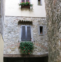 Monday Colours - Flowers and Grey Stones (Pushapoze (nmp)) Tags: italia italy toscana doors windows flowers stone montefioralle greve chianti