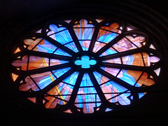 Cahors Cathedral, France: Rose window (ronmcbride66) Tags: cahors cahorscathedral nave navewindow 12thcenturycathedral stainedglass