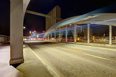 METTIS (Fabien Husslein) Tags: mettis metz moselle lorraine france pont eble route road traffic trafic bus light ligne line lumiere night nuit architecture city ville pose longue long exposure