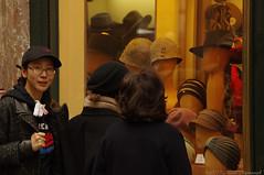 Portrait (Natali Antonovich) Tags: portrait sweetbrussels brussels belgium belgique belgie monsel hat hats hatisalwaysfashionable window shopwindow shop spectators stare lifestyle tradition sthubertgallery