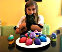 bernie & frodo (Globetoppers) Tags: picmonkey easter eggs color elijah bernie kitty boy 12 cat black green
