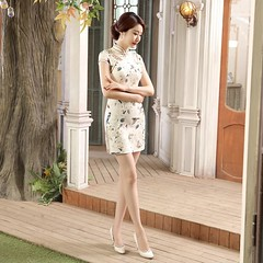 Short length Cotton-Linen Fabric Cheongsam Qipao Chinese dress LGD50-02
