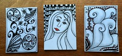 Doodled ATC's (CraftyBev) Tags: atc zentangle doodles black white
