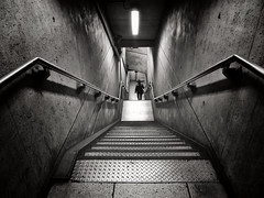 My Name Is Nobody (Douguerreotype) Tags: uk gb britain british england london city urban underground tube metro subway tunnel stairs steps bw blackandwhite mono monochrome people transport concrete metal modern architecture