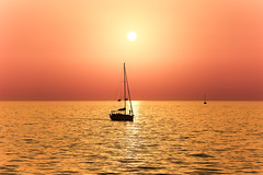Sailing at sunset - Tel-Aviv beach (Lior. L) Tags: sailingatsunsettelavivbeach sailing sunset telaviv beach sailboat silhouette boat travel travelinisrael sail reflection sky telavivbeach