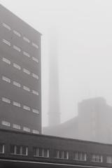 Salmisaari (pni) Tags: monochrome fog mist quiet building brick chimney helsinki helsingfors finland suomi pekkanikrus skrubu pni