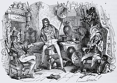 """Mr. Swiveller and friend speak with the old man. """"The Old Curiosity Shop"""" by Charles Dickens. London: Chapman and Hall, 1841. 1st ed. (lhboudreau) Tags: book books hardcover hardcovers hardcoverbook hardcoverbooks classicbook classicbooks classictale classicstory classicnovel novel story tale dickens charlesdickens 1841 firstedition chapmanhall chapmanandhall oldcuriosityshop theoldcuriosityshop curiosityshop bookart antiquebook antiquarianbook illustration art etching engraving grandfather antiques armor georgecattermole hablotkbrowne hkbrowne swiveller mrswiveller chair chairs seated chatting disheveled tophat legscrossed oldman oldmansson"""