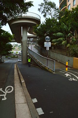 Elevation access trackstart  for access to Anzac Bridge (Pyrmont NSW)  (Sydney NSW Australia) pedestrian and cycle track (nicephotog) Tags: bridge nsw pyrmont ultimo pedestrian footpath flats apartment block cycle way path ramp